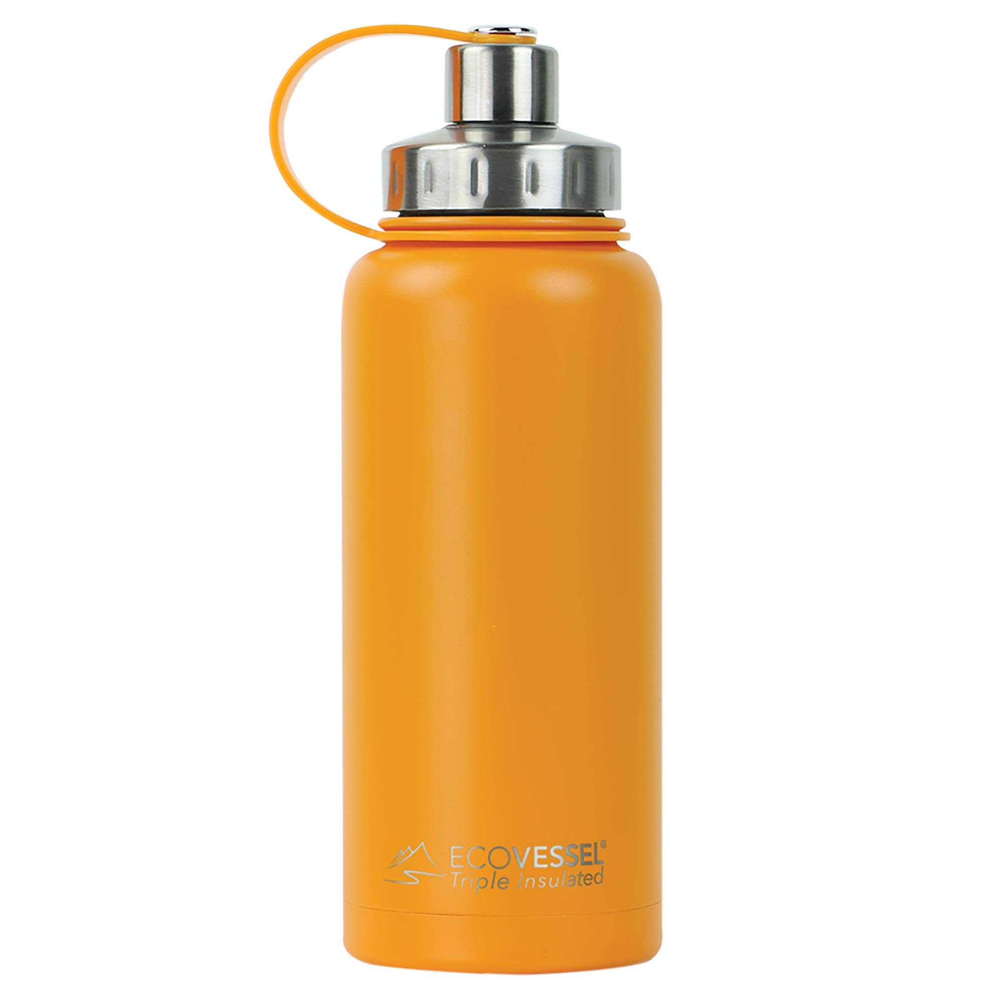 EcoVessel BOULDER TriMax Vacuum Insulated Stainless Steel Water Bottle with Versatile Stainless Steel Top and Tea, Fruit, Ice Strainer - 32 ounce - Mystic Mango