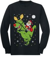 T-Rex Santa Ride Funny Ugly Christmas Sweater Youth Kids Long Sleeve T-Shirt