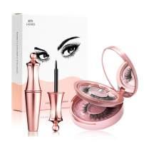Magnetic Eyeliner and Lashes Kit 2 Styles False Eyelashes 3D Black Lashliner (Bead)