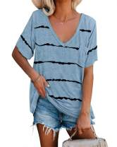 Langwyqu Women's Short Sleeve Stripe T Shirts Loose Casual V Neck Pocket Tunic Tops