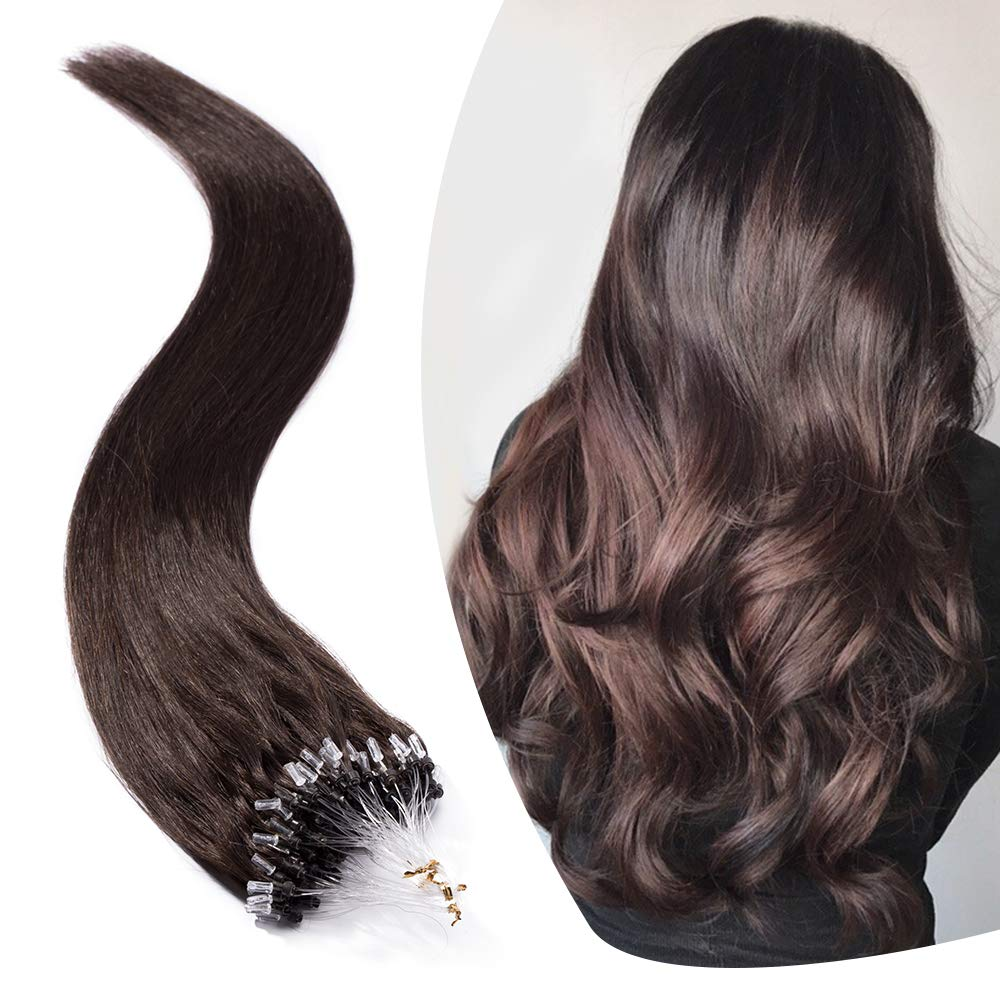 Micro Link Human Hair Extensions Micro Ring Loop Remy Hair Piece Beads Cold Fusion Stick Tipped Hair Fish Line Natural Straight Real Hair Extension For Women 22 inch 50g 100 Strands #02 Dark Brown