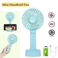 Battery Handheld Fan, Portable Battery Operated Fan : Rechargeable & Adjustable 3 Speeds Mini Personal Electric USB Fan with Desk Stand for Home/Office/Travel/Outdoor (Blue)
