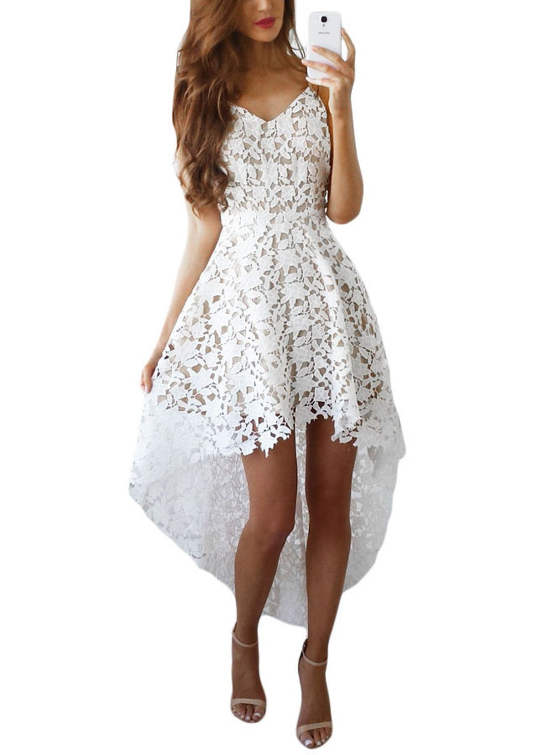 AlvaQ Women's V Neck Sleeveless Lace Hollow High Low Party Dress
