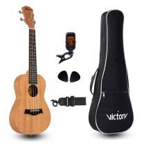 VIVICTORY Concert Ukulele 23 Inch Mahogany Aquila String with Beginner kit : Tuner, Gig Bag, Straps and Picks - Natural Color