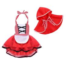 Newborn Baby Girls Little Red Riding Hood Halloween Costumes Cosplay Outfit Cloak Fairy Tale Fancy Dress Up Gown