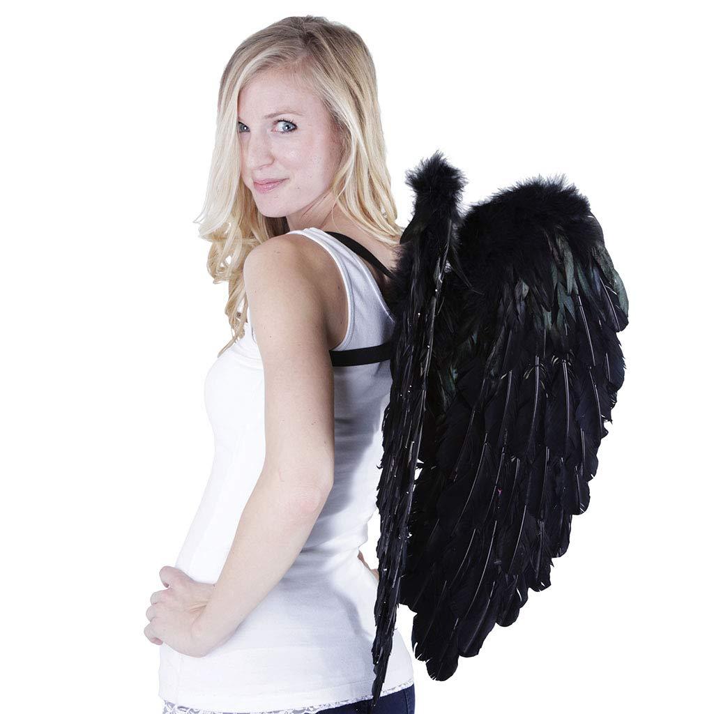 Large Black Angel Costume Wings - Dark Fairy Halloween Cosplay Feather Wing