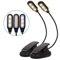 Briignite Book Light, Clip On LED Reading Light with 3 Level Brightness Eye-Care, 5 LED Warm & White Clip Lights, USB & Battery Operated, Perfect Reading Lamp for Kids, Bookworm, Bed, Travel, 2 Pack