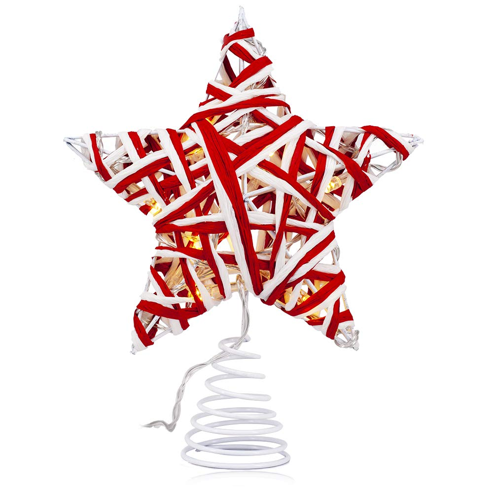 VersionTECH. Christmas Tree Topper, LED Light Star Treetop Decorations with Battery Operated (2AA Battery Not Included), Beautiful Christmas Tree Ornaments for Festival Xmas Tree Red