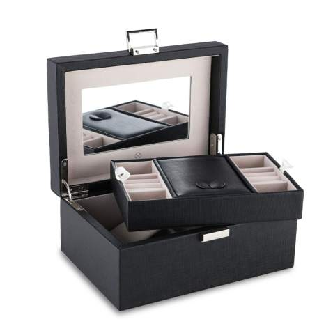 two the nines Vlando High Capacity Mirrored Jewelry Box Organizer with Handle, Soft PU Leather Wooden Decorative Jewelry Storage Case for Bracelets, Earrings, Rings, Necklaces, Brooches Black
