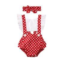 WALLARENEAR Newborn Baby Girl Sleeveless Romper Jumpsuit Ruffle Backless One Piece Bodysuit + Headband Summer Outfits