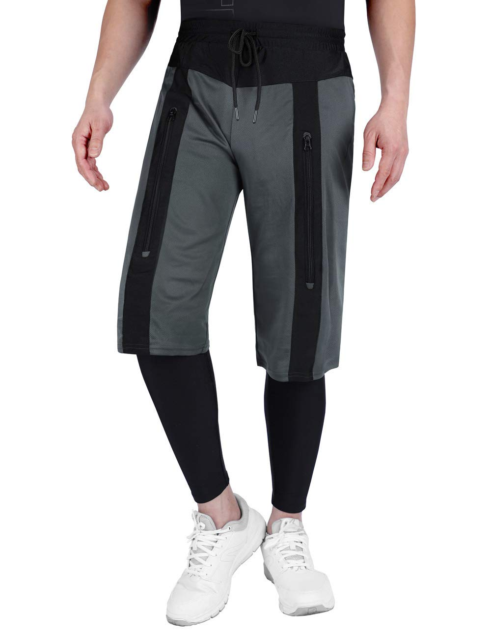 DISHANG Men's 2 in 1 Running Shorts Workout Training Gym Quick Dry Bodybuliding Workout Active Training Pants