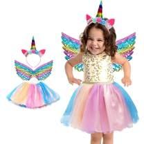 Tutus Skirt for Girls Tulle Tutu Skirt for Toddler Girl Unicorn Costume Tutu with Headband Wing