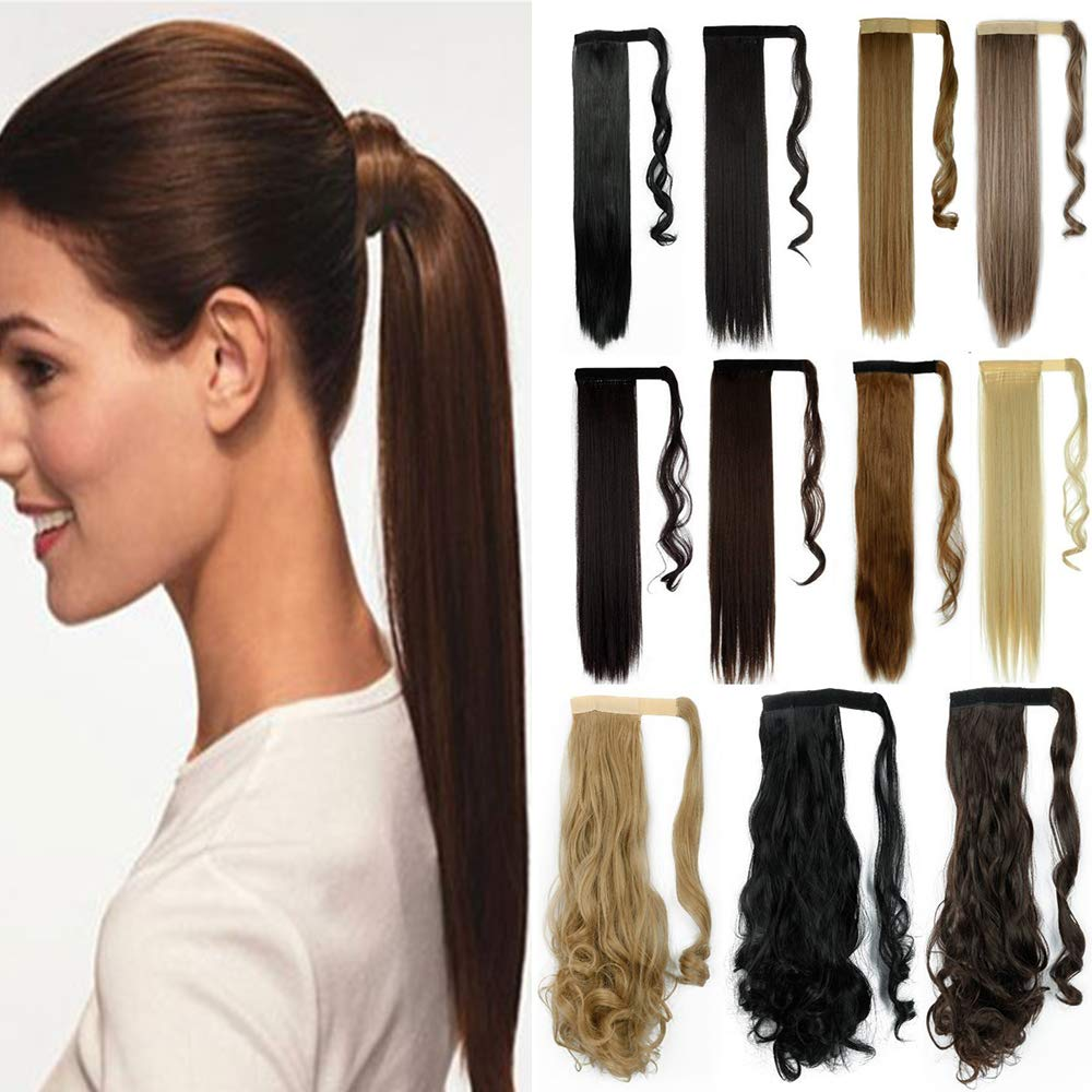S-noilite One Piece Ponytail Hair Extensions Clip in Wrap Around on Pony Tail Long Real Natural Synthetic Fibre Ponytails Hairpiece for Women Lady Girl Curly 24 inch dark red