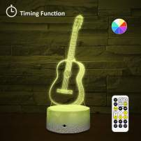 [Wall Adapter Included] Remote & Touch Control LED Guitar Night Light with Timer Dimmable Bedside Table Desk Lamp 7 Color Changing Nightlights for Nursery Kids Bedroom Living Room