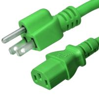NEMA 5-15P to C13 Power Cord - Green, 6 Foot, 15A/125V, 14/3 AWG - Iron Box Part # IBX-2822-06