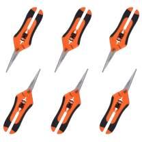 GROWNEER 6 Packs Pruning Shears Gardening Hand Pruning Snips with Straight Stainless Steel Precision Blades, Orange