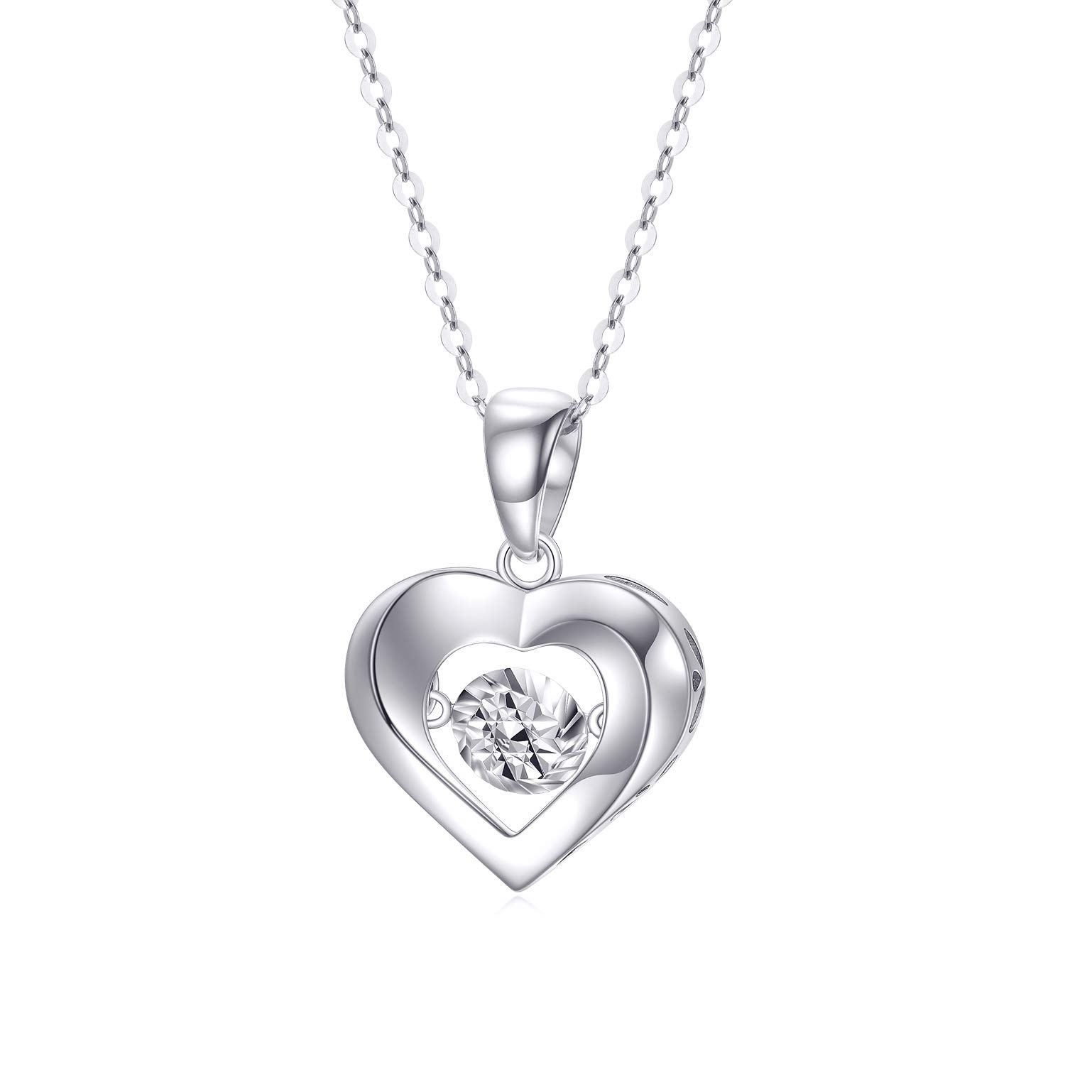 """SISGEM 18k White Gold Heart Necklace, Real Gold Love Necklace Jewelry for Women, 18"""""""