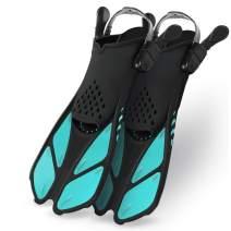 Greatever Snorkel Fins Adjustable Buckles Open Heel Swim Flippers Travel Size Short Swim Fins for Snorkeling Diving Swimming Adult Men Womens