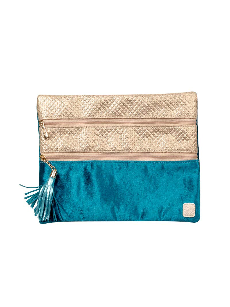 Peachy Keen by Southern Grace Double Zipper Versi Bag, Travel Clutch Makeup Cosmetic Purse Organizer Pencil Case Toiletry Bag | Into the Blue Teal Velvet