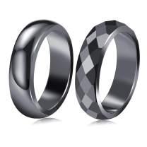 LIU JUN Genuine Hematite Rings for Women Men,Anxiety Balance Magnet Stone Hematite Rings That Absorb Negative Energy and Break,Friendship Cute for Teen Girls Gifts Jewelry(6mm-2Pcs)