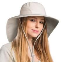 FURTALK Safari Sun Hats for Women Wide Brim Neck Flap Ponytail UPF Outdoor Fishing Hiking Hat