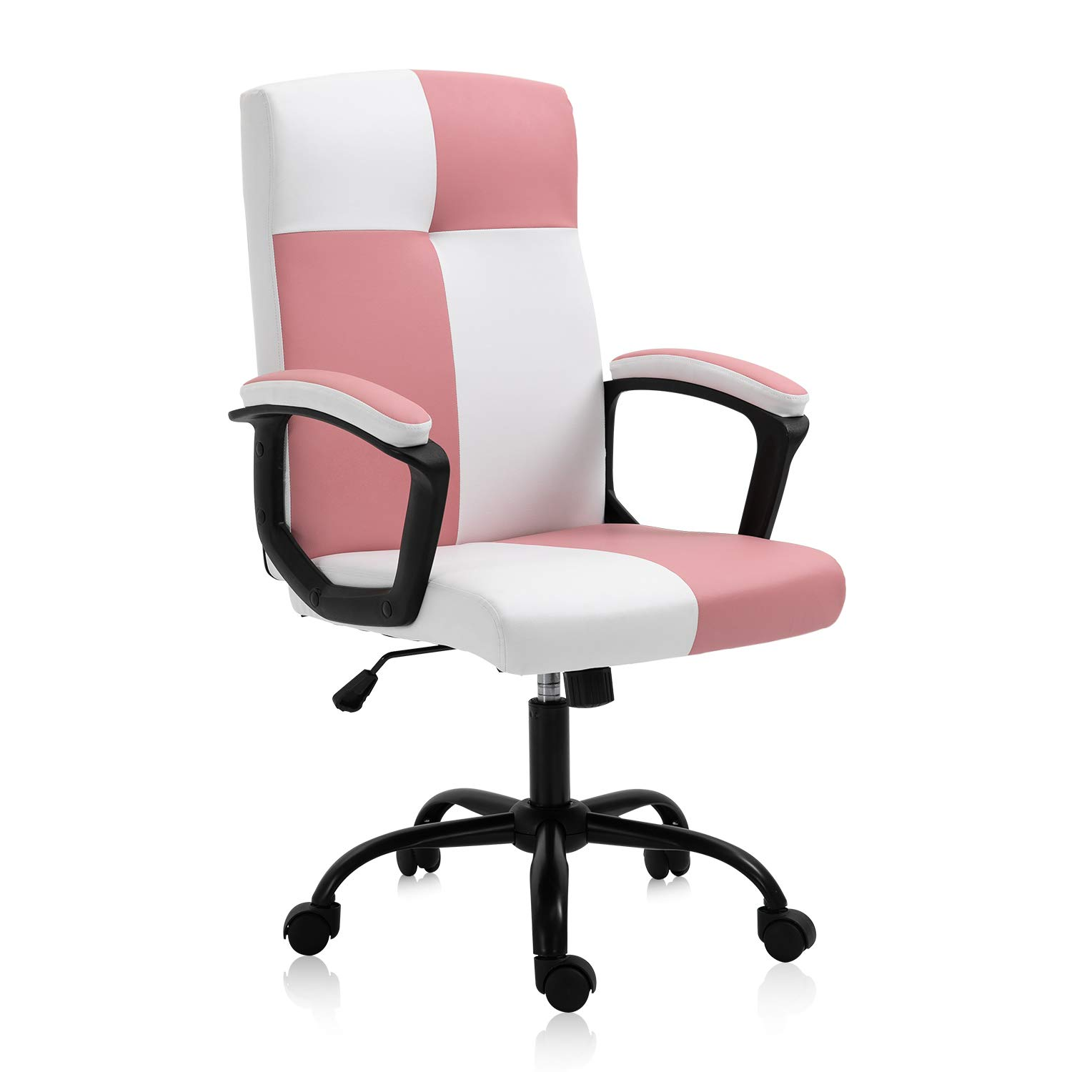 SEATZONE High Back Home Office Desk Chair PU Leather Ergonomic Executive Chair Rolling Swivel Adjustable Computer Chair with Wheels,White&Pink