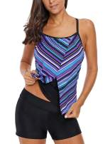 Fenxxxl Women's Color Block Striped Racerback Tankini Swim Top Padded Swimsuits Tops