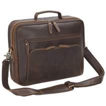 """Tiding Men's Genuine Leather Briefcase Travel Business Messenger Bag Attache Case Fits 15.6"""" Laptop"""