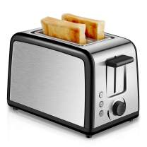 Toaster 2 Slice, Compact Brushed Stainless Steel Toasters 2 Slice Best Rated Prime with Warmly Rack, Cool Touch 2-Slice Extra Wide Slot Toaster with Defrost Reheat Cancel Button, Removable Crumb Tray (Silver)