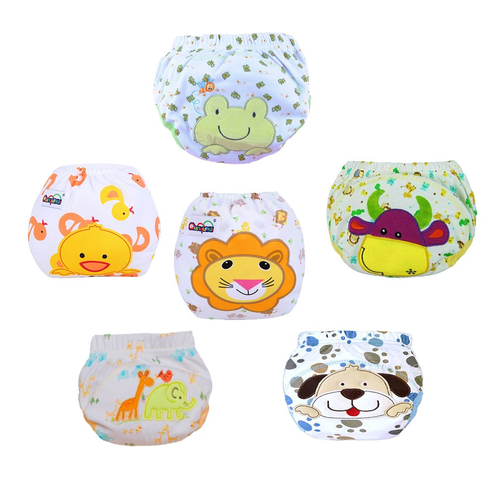 Free Fisher 6 Pack Training Pants for Boys Girls, Reusalbe Potty Training Underwear Pants