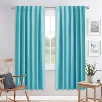 PONY DANCE Window Draperies & Curtains - 72 inch Soft Triple Weaved Fabric Polyester Home Decor Back Tab Light Block Drapes for Living Room, 52 W by 72 L, Blue Mist, 2 Panels