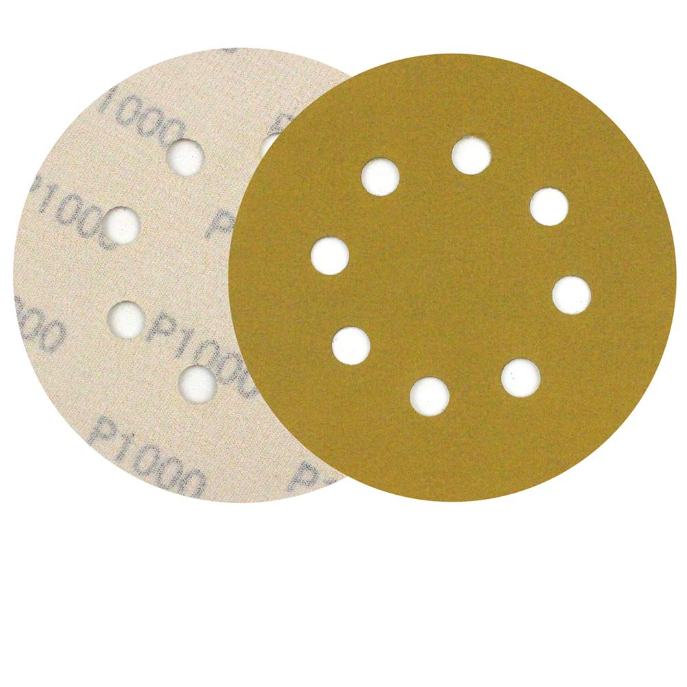 MAXMAN 5-Inch 8-Hole Sanding Discs,Dustless Hook and Loop,Premium Abrasive Aluminum Oxide Orbital Sandpaper, 1000 Grit, 30 PCS,Yellow