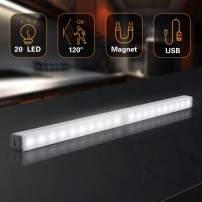 Under Cabinet Lighting Battery Operated,LED Closet Lights Motion Activated,Battery Powered Motion Sensor Light Indoor,USB Rechargeable Homelife Led Bar,20-LED 480LM Stick Up Magnetic Light(1 Pack)