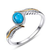AVECON Women's 925 Sterling Silver Oval Cut Created Turquoise Feather Rings Engagement Wedding Bands Size 6-9