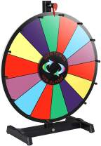 "Smartxchoices 18"" Tabletop Spinning Wheel for Prizes w/Dry Eraser & Marker Pen Color Spinner 14 Slots Editable Casino Carnival Fortune Spin Game"
