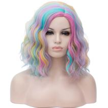 """BUFASHION 14"""" Women Short Rainbow Kinky Straight Cosplay Synthetic Wigs With Air Bangs 46 Colors Available (Rainbow)"""