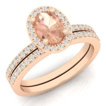 Dazzlingrock Collection 10K Oval Gemstone & Round White Diamond Ladies Bridal Halo Engagement Ring Set, Rose Gold