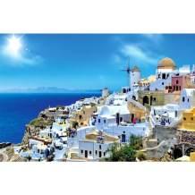 Rocorose 1000 Piece Jigsaw Puzzle, Santorini Landscape Floor Puzzle for Kids Adult