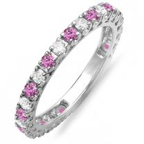 Dazzlingrock Collection 10K White Gold Round Pink Sapphire & White Diamond Eternity Sizeable Stackable Anniversary Wedding Band