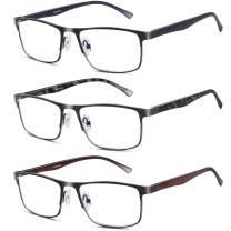 3 Pack Blue light Blocking Reading Glasses for Men, Stylish Metal Frame Readers