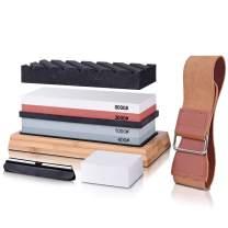 Knife Sharpening Stone Set,Knife Sharpener Set,Dual Grit Whetstone 400/1000 3000/8000 Premium withNon-slip Bamboo Base, Flatting Stone, Angle Guide and Leather Strop included