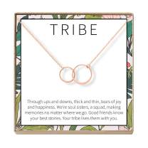 Dear Ava Tribe Gift Necklace: Best Friends, BFF, Long Distance, Friends Forever, 2 Asymmetrical Circles