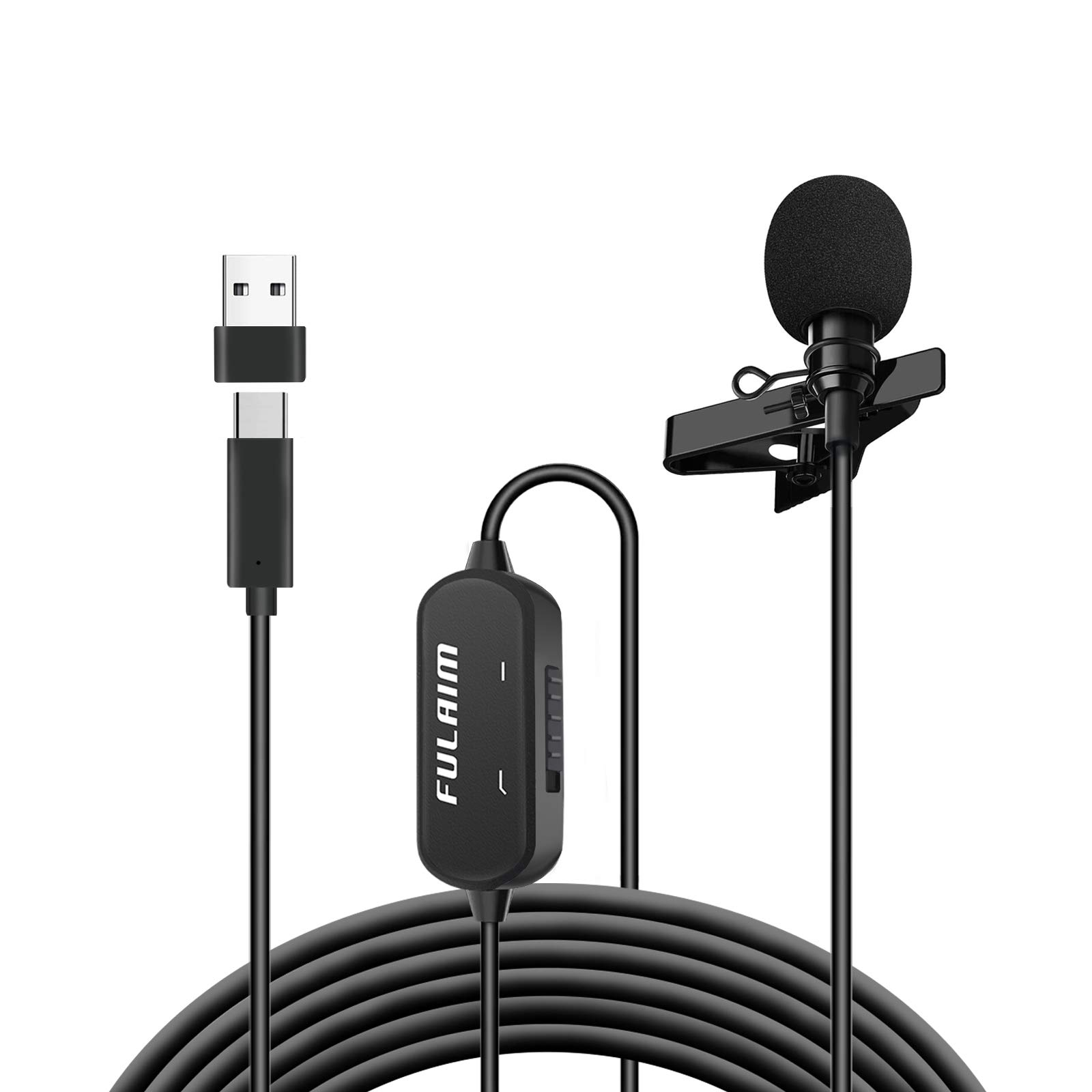 FULAIM USB Type C Lavalier Lapel Microphone with Noise Reduction for Smartphone, 19.7Ft USB C Professional Omnidirectional Clip Mic for YouTube/Interview/Recording Come with USB Adapter for PC, Laptop