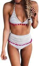NUOREEL Women High Waist Bikini Two Pieces Tankini Bottom Padded Striped Tassel Swimsuit