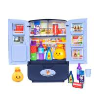 RVEE Mini Kitchen Fridge Pretend Play Toys,Kids Little Refrigerator Playset Double Door Mini Fridge with Play Foods Accessories, Mini Dollhouse Furniture Decoration Accessories, Gift for Boys Girls
