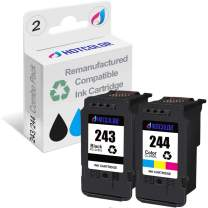 HOTCOLOR Re-Manufactured Ink Cartridge Replacement for Canon Ink cartridges 243 and 244 PG 243 CL 244 for Canon PIXMA TS3320 MX492 MG3020 MG2520 MG2525 TS3120 TR4520(1Black/1Tri-Color, 2Pack)