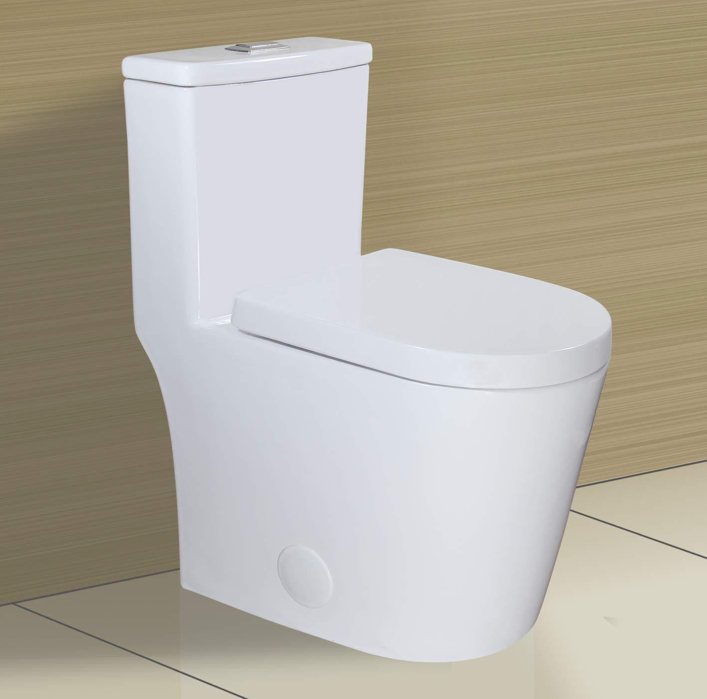 "WinZo WZ5089 Short Compact Round One Piece Toilet,Dual Flush Small Modern Bathroom Water Closet 12"" Rough-in White"