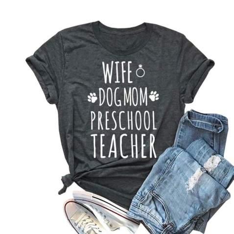 Teaching is My Jam Women T-Shirt Funny Letter Printed Summer Short Sleeve Teacher Tshirts Top