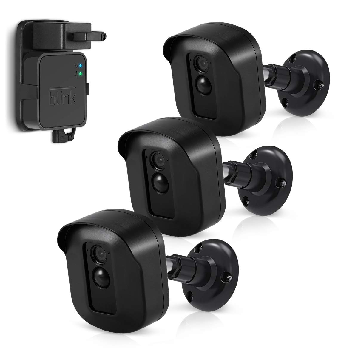 Blink XT2 Camera Wall Mount Bracket, Caremoo 3 Pack Weatherproof Protective Housing/Mount and Blink Sync Module Outlet Mount for Blink XT2/ Blink XT Outdoor/Indoor Smart Security Camera (Black)