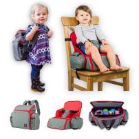 3 in 1 - Cozy Travel Booster Seat/Backpack/Diaper Bag for Your Toddler/Baby. Perfect for Home or Travel. Great Baby Shower Gift (Red/Gray)
